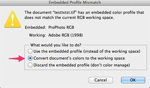 Photoshop Profile Mismatch