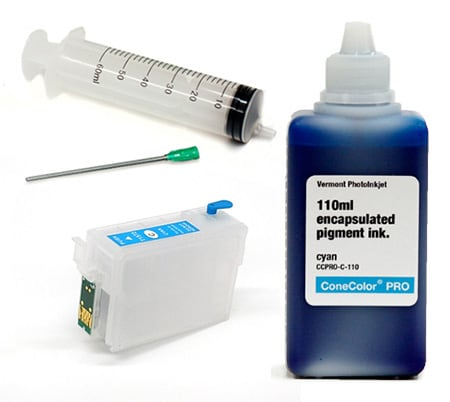 [CCP-R3000-110-C-KIT] ConeColor Pro 110ml Ink & Refillable Cartridge, Cyan
