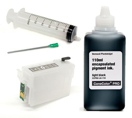 [CCP-R3000-110-LK-KIT] ConeColor Pro 110ml Ink & Refillable Cartridge, Light Black