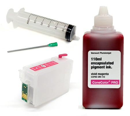 [CCP-R3000-110-VM-KIT] ConeColor Pro 110ml Ink & Refillable Cartridge, Vivid Magenta