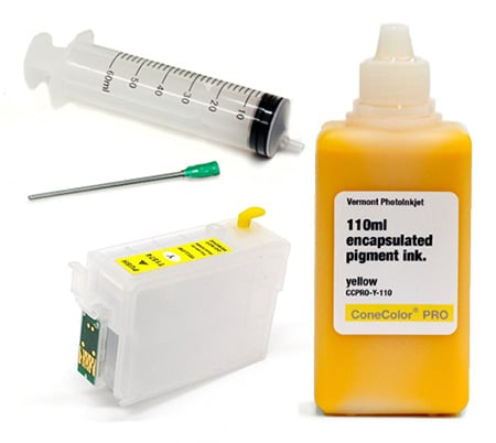 [CCP-R3000-110-Y-KIT] ConeColor Pro 110ml Ink & Refillable Cartridge, Yellow