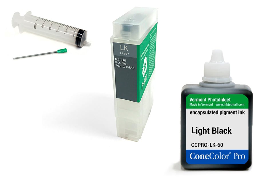 [CCP-R3000-V2-60-LK-KIT] ConeColor Pro 60ml Ink & R3000 Refillable Cartridge, Light Black
