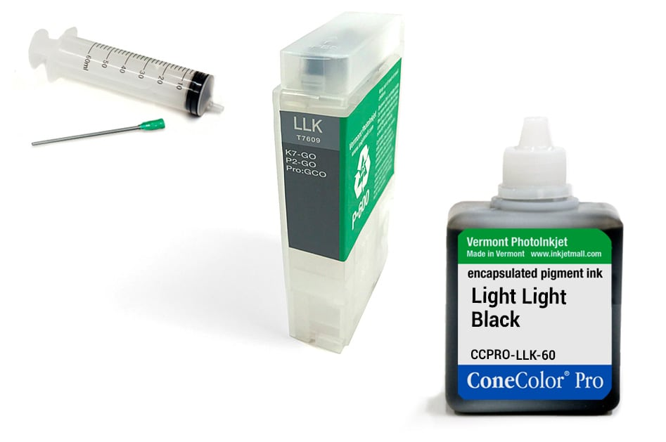 [CCP-R3000-V2-60-LLK-KIT] ConeColor Pro 60ml Ink & R3000 Refillable Cartridge, Light Light Black