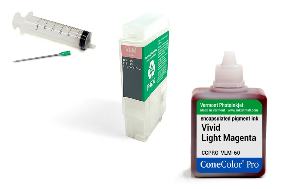 [CCP-R3000-V2-60-VLM-KIT] ConeColor Pro 60ml Ink & R3000 Refillable Cartridge, Vivid Light Magenta