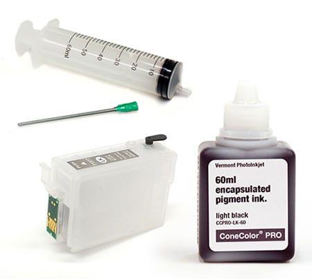 [CCP-R3000-60-LK-KIT] ConeColor Pro 60ml Ink & Refillable Cartridge, Light Black