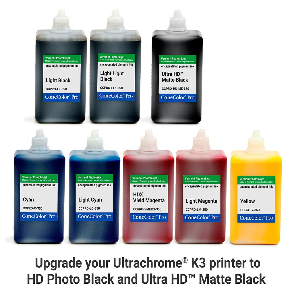 [CCPRO-K3-HD-350-SET8M] ConeColor Pro K3, Set of 8 Inks, (UltraHD™ MK), 350ml