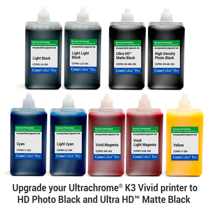 [CCPRO-K3V-HD-350-SET9] ConeColor Pro K3 Vivid, Set of 9 Inks, (HD Enhanced), 350ml