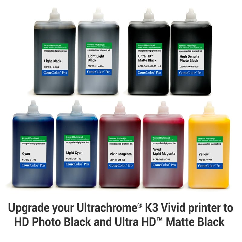 [CCPRO-K3V-HD-700-SET9] ConeColor Pro K3 Vivid, Set of 9 Inks, (HD Enhanced), 700ml