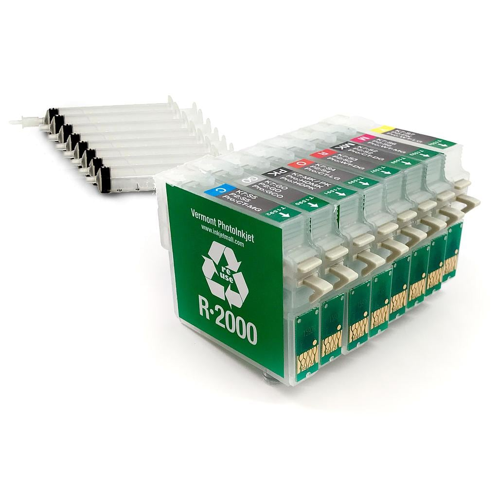 [RCS-R2000-SH-SET8] Refillable Cartridge - Epson R2000 - Set 8 with syringes