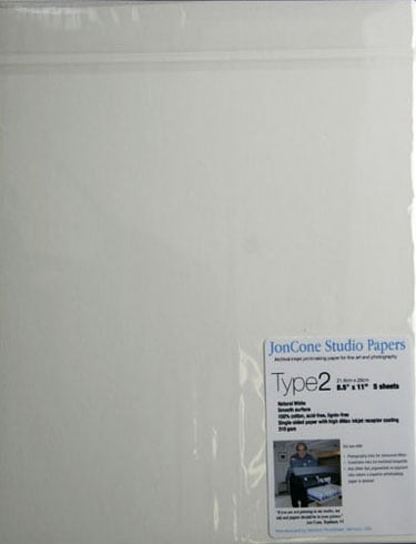 [PS-JCS2-08-SAMPLE] JonCone Studio® Type2 310gsm - 8.5 x 11 - 5 sheets