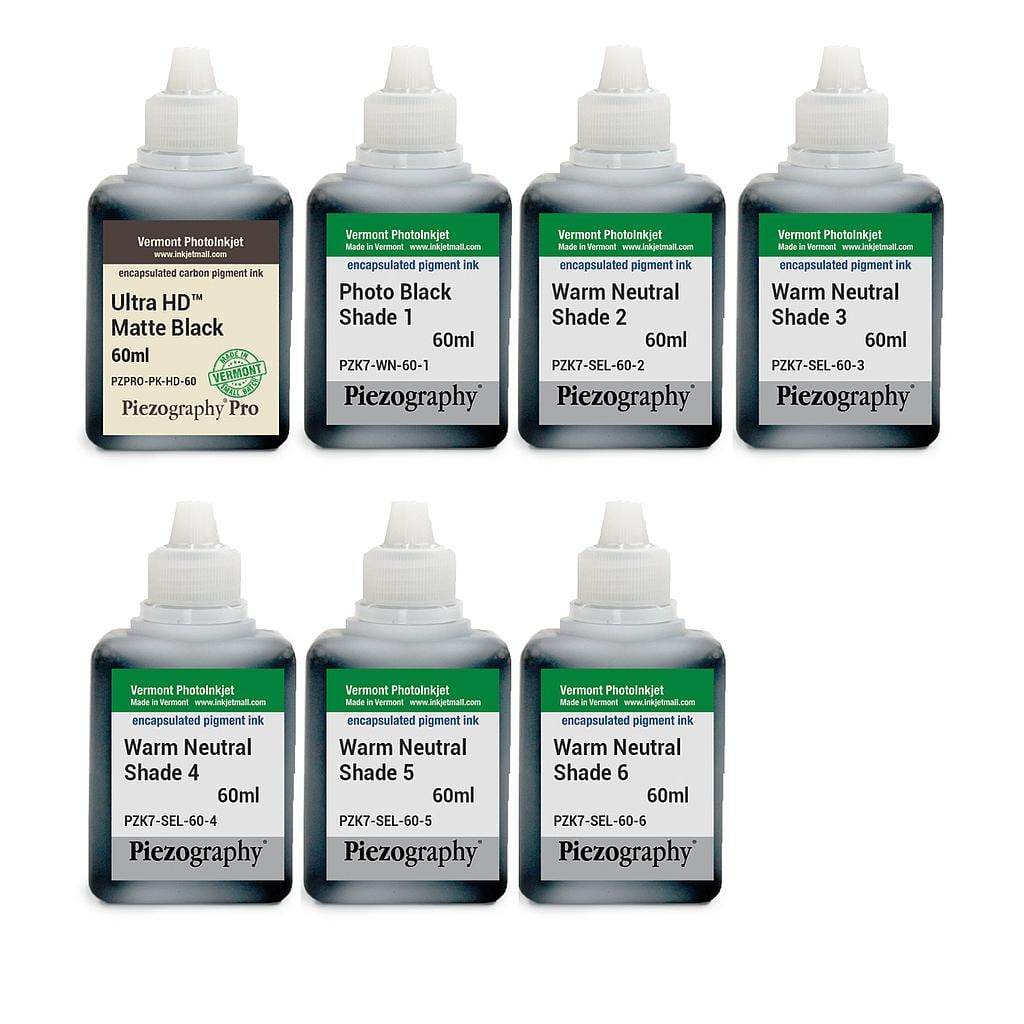 [PIEZODN-WN-60-SET7HD] Piezography K6, Warm Neutral Tone, 60ml, Set of 7 Inks (PiezoDN and matte only)