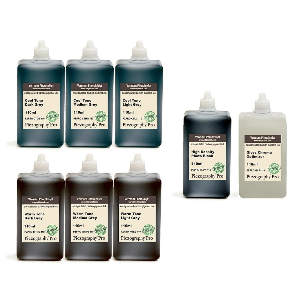 [PZPRO-110-SET8P] Piezography Pro, BW Toning system, Set of 8 Inks (glossy printing only) -  110ml