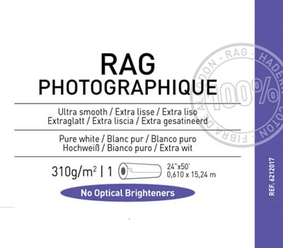 "Rag Photographique 310gsm  24"" x 50'  1 roll"