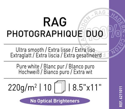 [206211010] Rag Photographique Duo  220gsm - 8.5 x 11 - 10 sheets