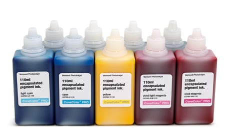 [CCPRO-K3V-110-SET9HDPK] ConeColor Pro K3 Vivid, Set of 9 Inks, 110ml with HD Photo Black
