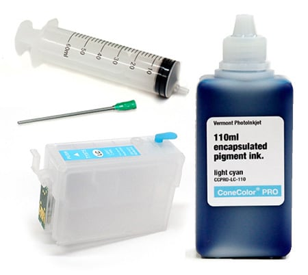 [CCP-R3000-110-LC-KIT] ConeColor Pro 110ml Ink & Refillable Cartridge, Light Cyan