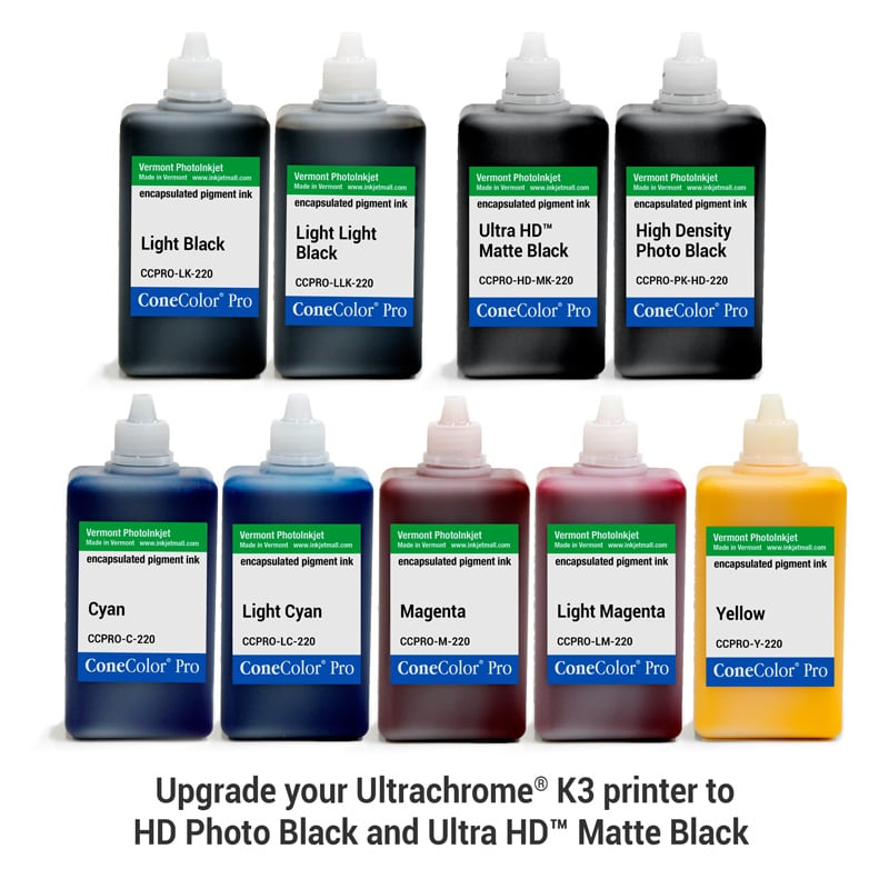 [CCPRO-K3-HD-220-SET9] ConeColor Pro K3, Set of 9 Inks, (HD Enhanced), 220ml