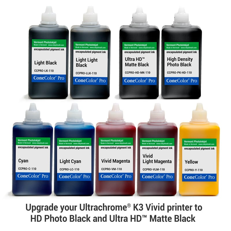 [CCPRO-K3V-HD-110-SET9] ConeColor Pro K3 Vivid, Set of 9 Inks, (HD Enhanced), 110ml
