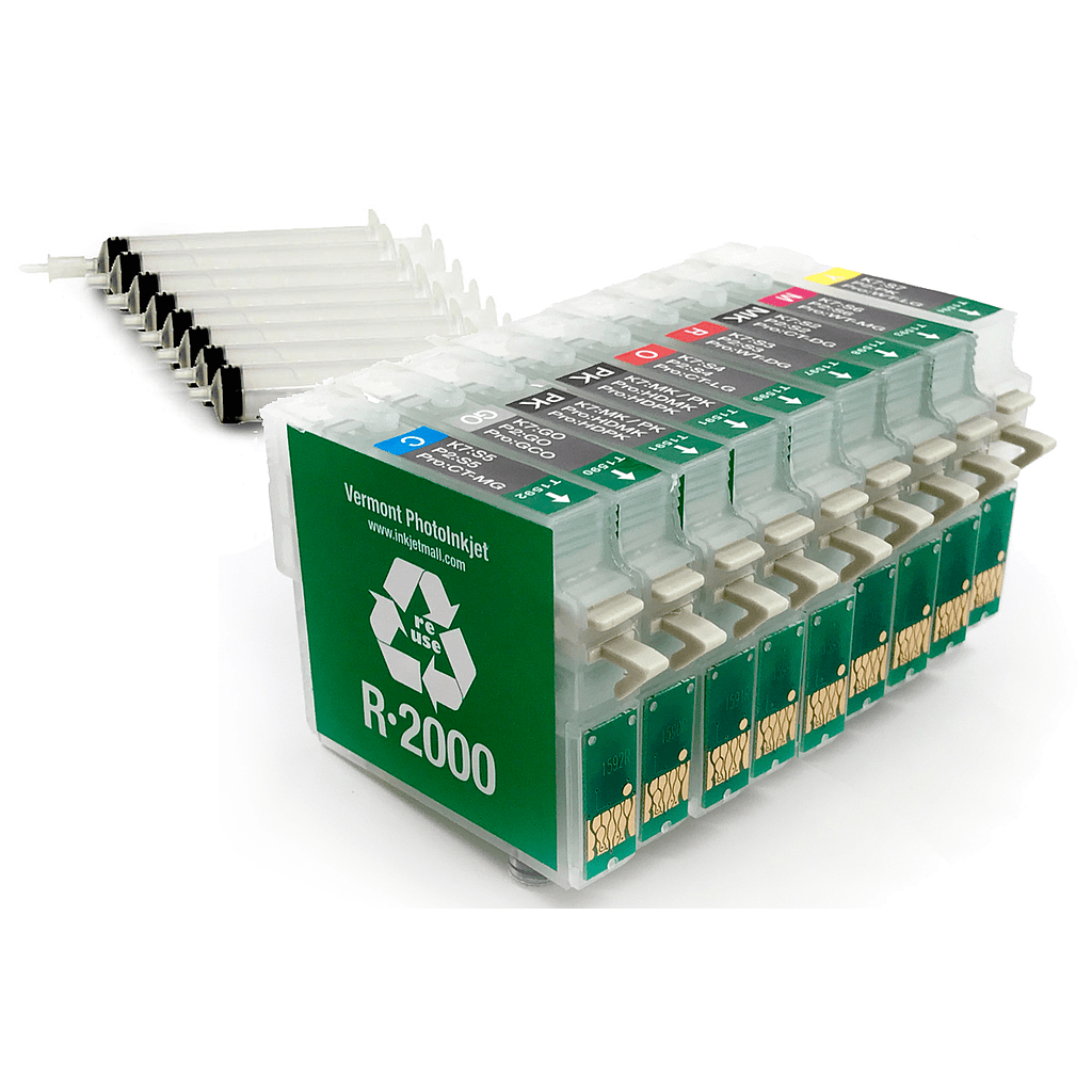 [RCS-R2000-SH-SET9] Refillable Cartridge - Epson R2000 - Set 9 with syringes