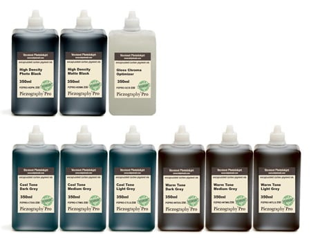 [PZPRO-350-SET9] Piezography Pro, BW Toning system, 350ml, Set of 9 Inks (matte & glossy)