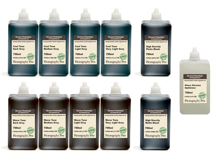 [PZPRO-700-SET11] Piezography Pro, BW Toning system, 700ml, Set of 11 Inks (matte & glossy)