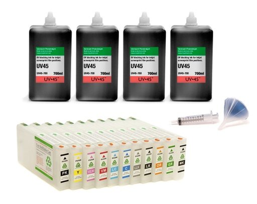 [UV45-4900-Screen-Print-Kit] Epson Stylus Pro 4900 UV45 All Channels Black Ink Screen Print Kit
