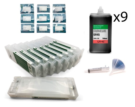 [UV45-P8000-Screen-Print-Kit] Epson SureColor P6000 or P8000 UV45 All Channels Black Ink Screen Print Kit