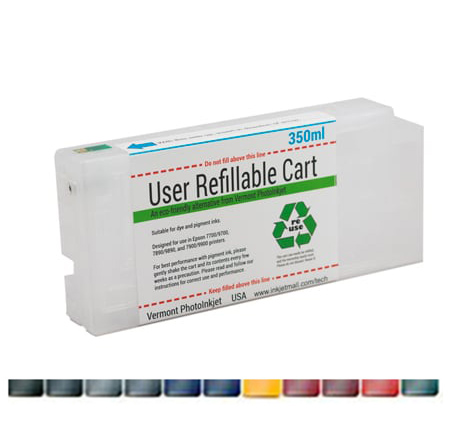 Single Refillable Cartridges for Epson Stylus Pro 7890, 7900, 9890, 9900 - Reset Chips - Any Color